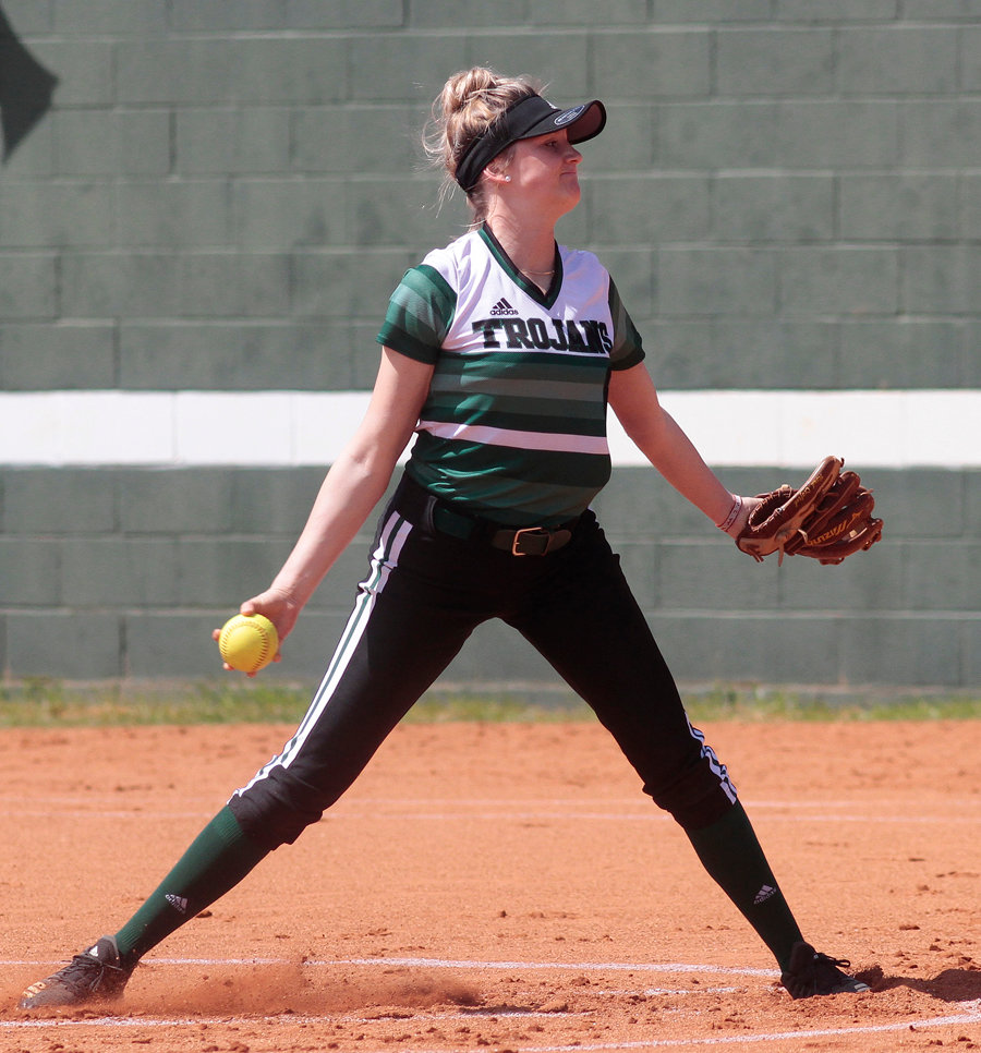 North Duplin alum Haley Brogden pitching in game one of the Trojans 6-1 win over King today.
