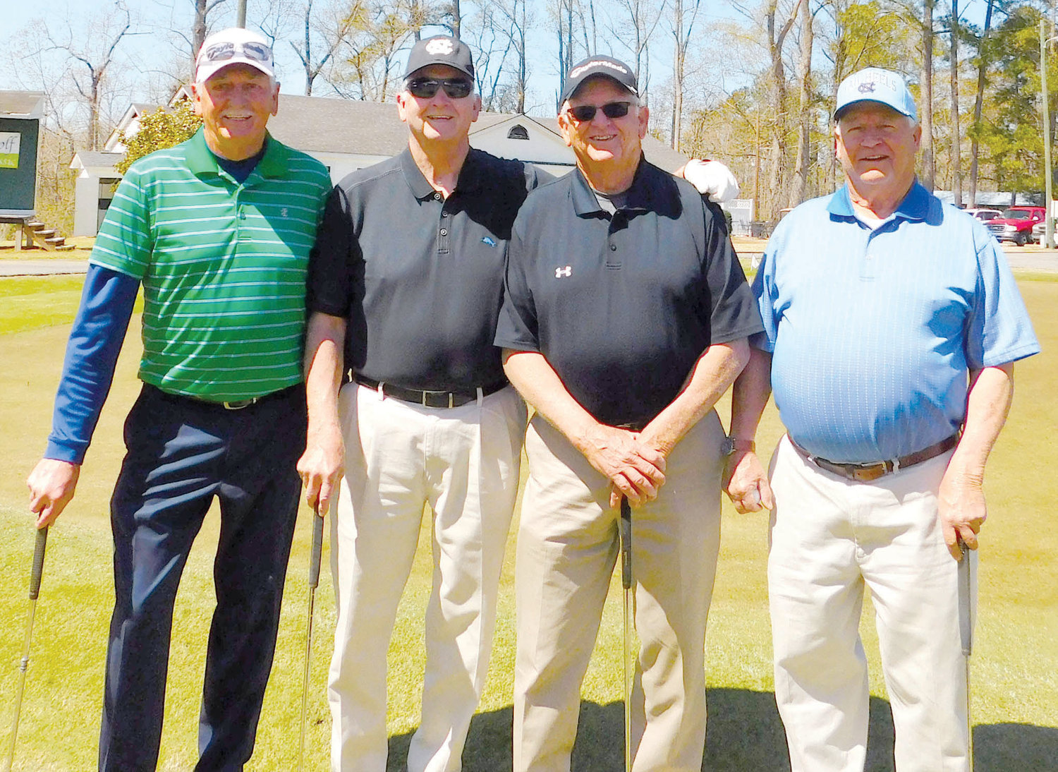 Members of the first flight second-place team in the sixth Central Carolina Community College Foundation Harnett Golf Classic were Johnny Badgett, Larry Badgett, Kenneth Parker and Jeff Wilson.