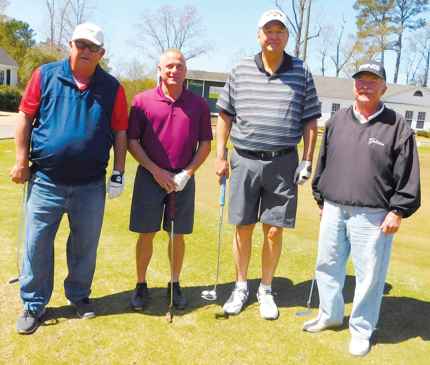 Members of the second flight second-place team in the sixth Central Carolina Community College Foundation Harnett Golf Classic were Hilton Lawrence, Dan Jordan, John Wiggins and Wayne Williams.