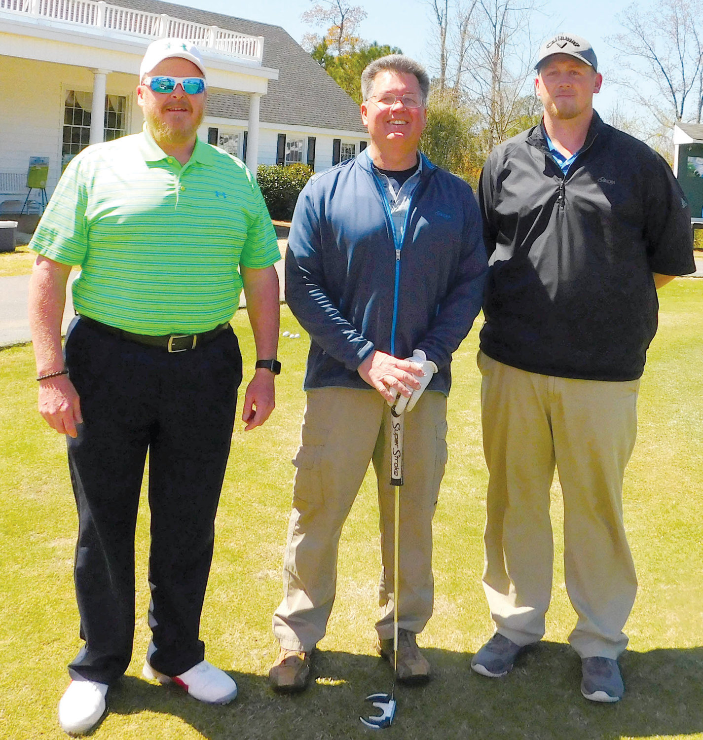Members of the first flight third-place team in the sixth Central Carolina Community College Foundation Harnett Golf Classic were Steven Hamby, Wallace Simmons and Larry Shaver.