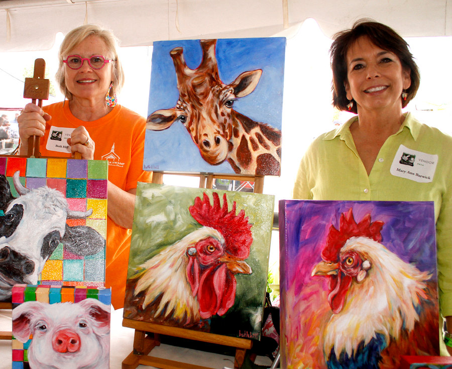 Beth Hill and Mary Ann Barwick had some of there artwork on display during the Pickle Festival Saturday morning.