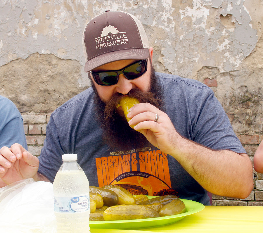 Trey Kilpatrick takes on the pickle eating challenge.