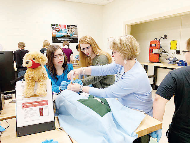 Lab instructor Sarah Wells is helping students, from left, Allyson Hall, Gracy Norris and Alex Parilla prepare to draw blood from the dog in the veterinary medicine module.