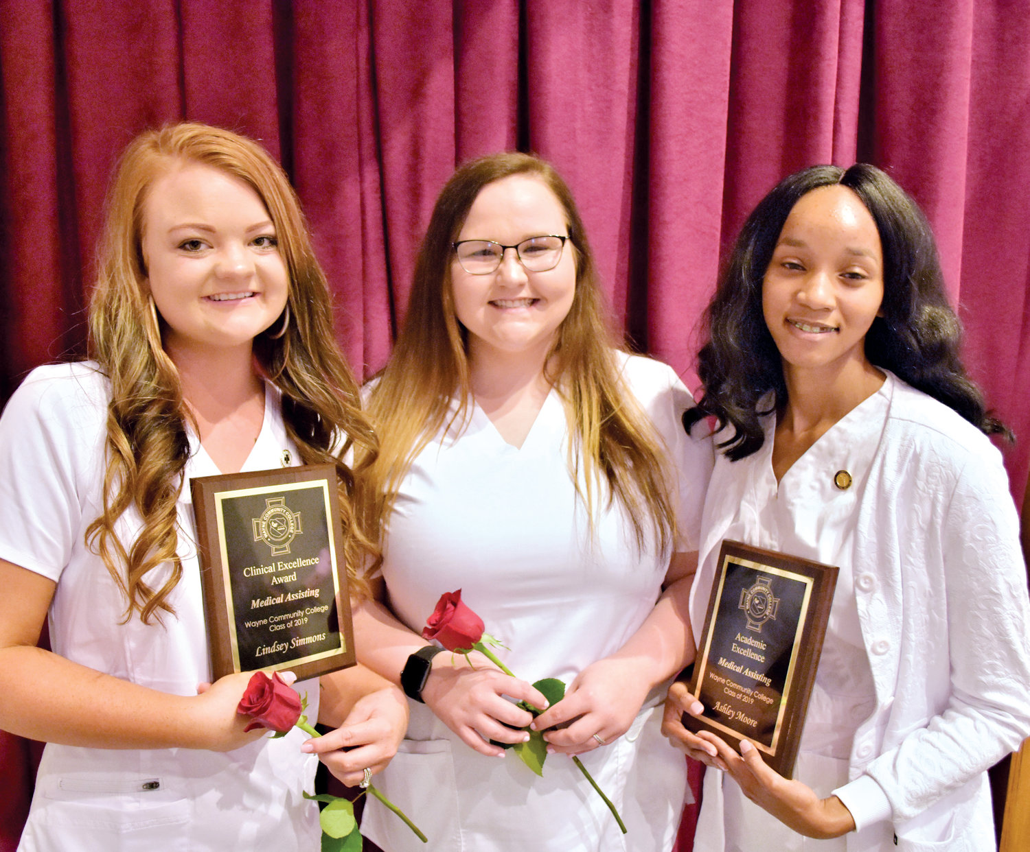 Wayne Community College Medical Assisting Class of 2019 award winners are, from left, Lindsey Simmons, Clinical Excellence; Kayla Capps, Outstanding Student; and Ashley Moore, Academic Excellence.
