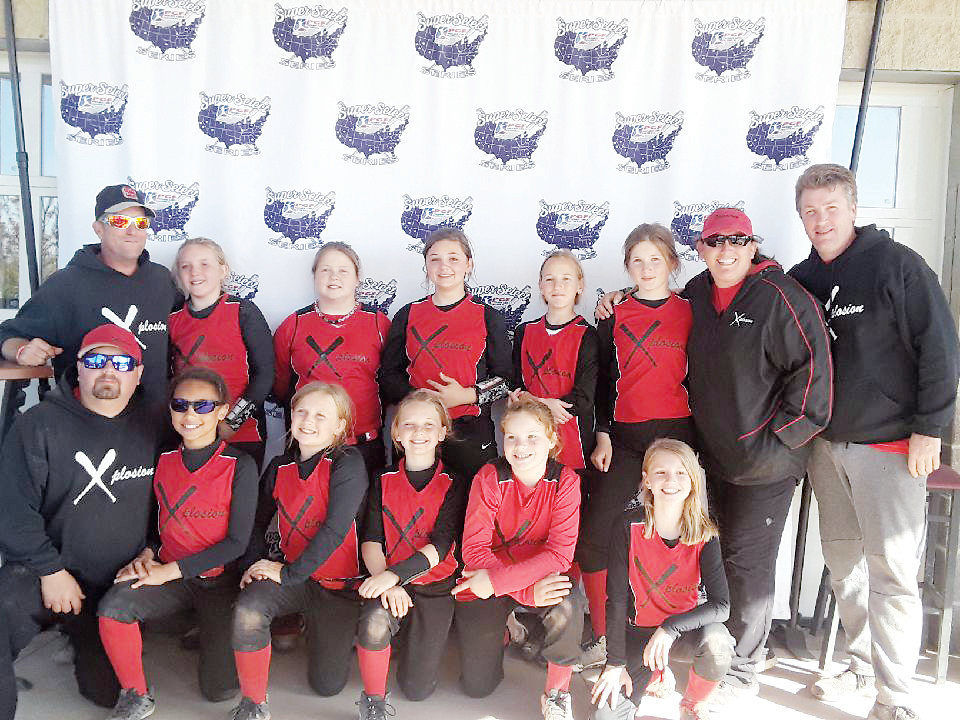 The Mount Olive Xplosion is pictured back row, left to right, head coach Henry Fulghum, Lilly Fulghum, Jordan Shambaugh, Leah Nettles, Caroline Waller, Mary Rachel Uzzell, coach Amy Fulghum and coach Parker Uzzell; front row, left to right, coach Chris Shambaugh, Dawson Blue, Hayley Bedford, Presley Knowles, Paisley Mooring and Keaton Gagliano.
