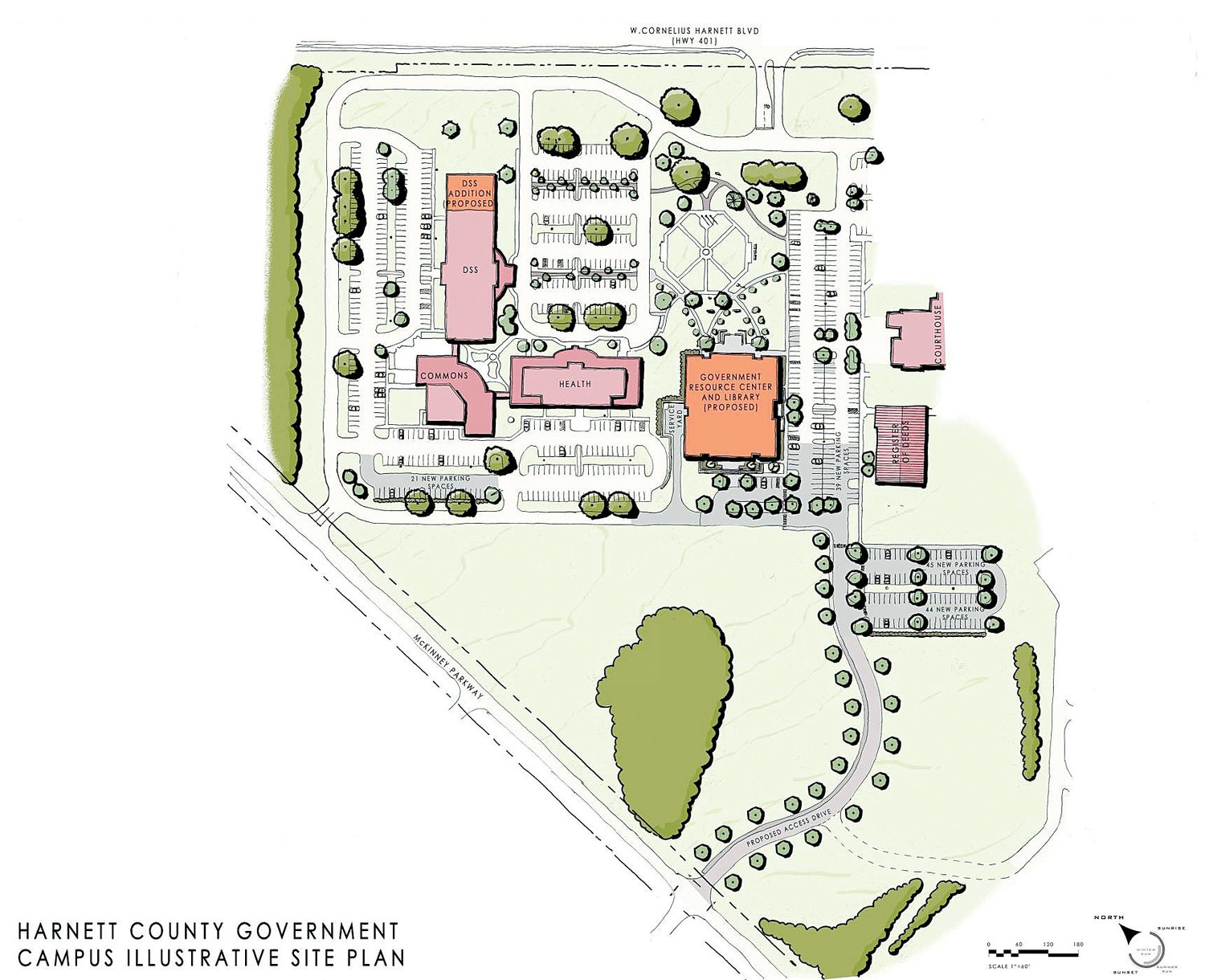 The Harnett County Board of Commissioners is expected to approve increases in the cost of the Harnett County Government Resource Center and Library at their meeting Monday night. Here is an illustrative site plan of the courthouse campus which includes the new building.