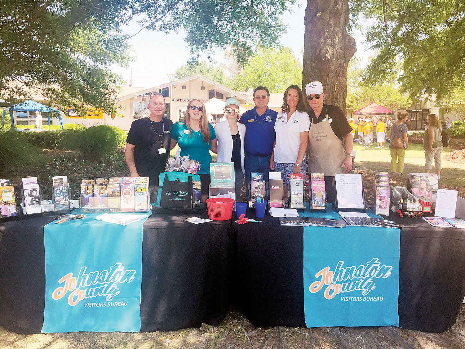 The Johnston County Visitors Bureau and partners visit the North Carolina welcome centers often, including during National Travel & Tourism Week, pictured here during the 2018 celebration.