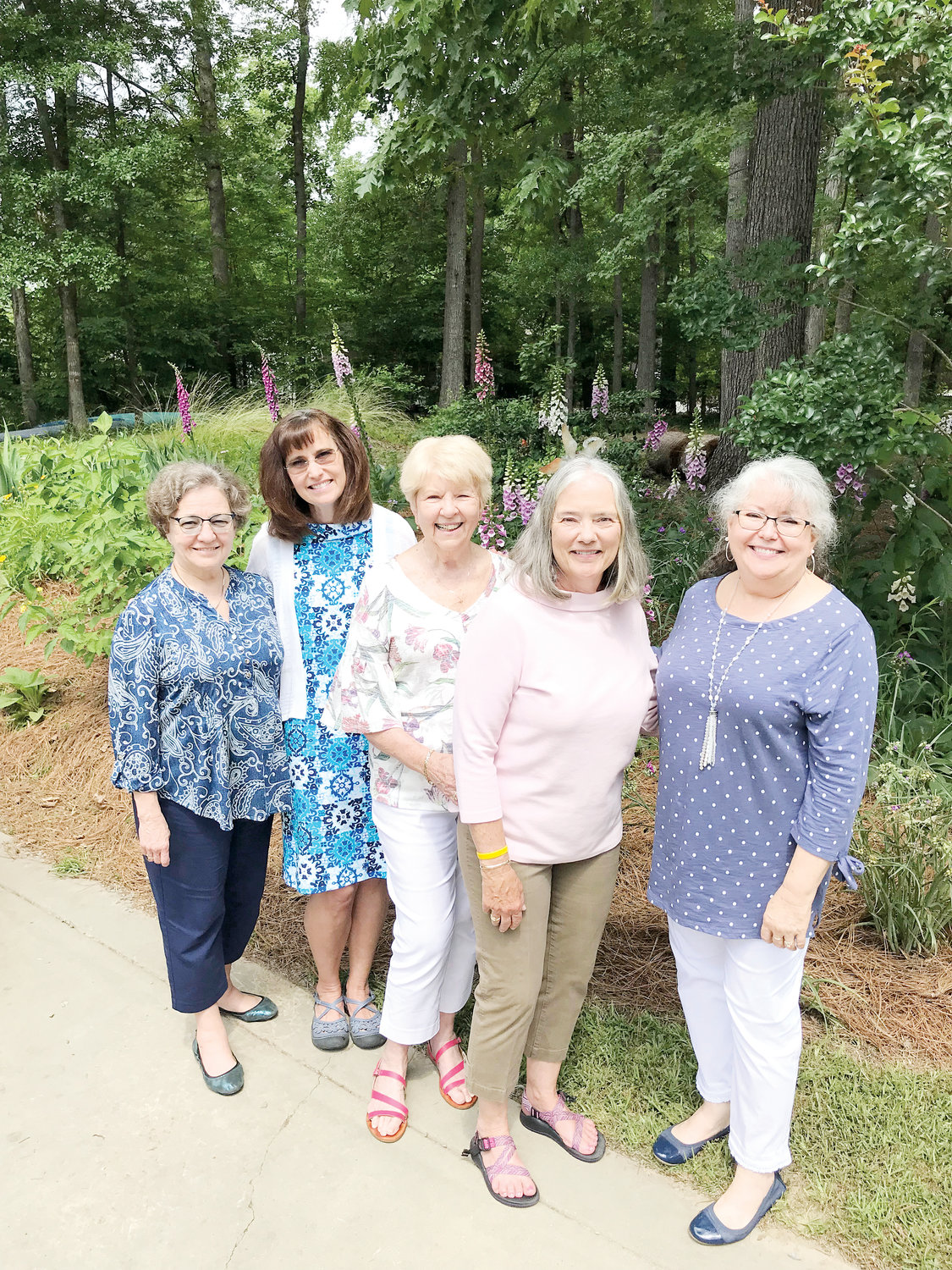 Hostesses for the May meeting of the Buies Creek Garden Club are, from left, Johnnie Jackson, Kathy Halm, Joy Aycock, Barbara Bethea and Kathy Stephenson.