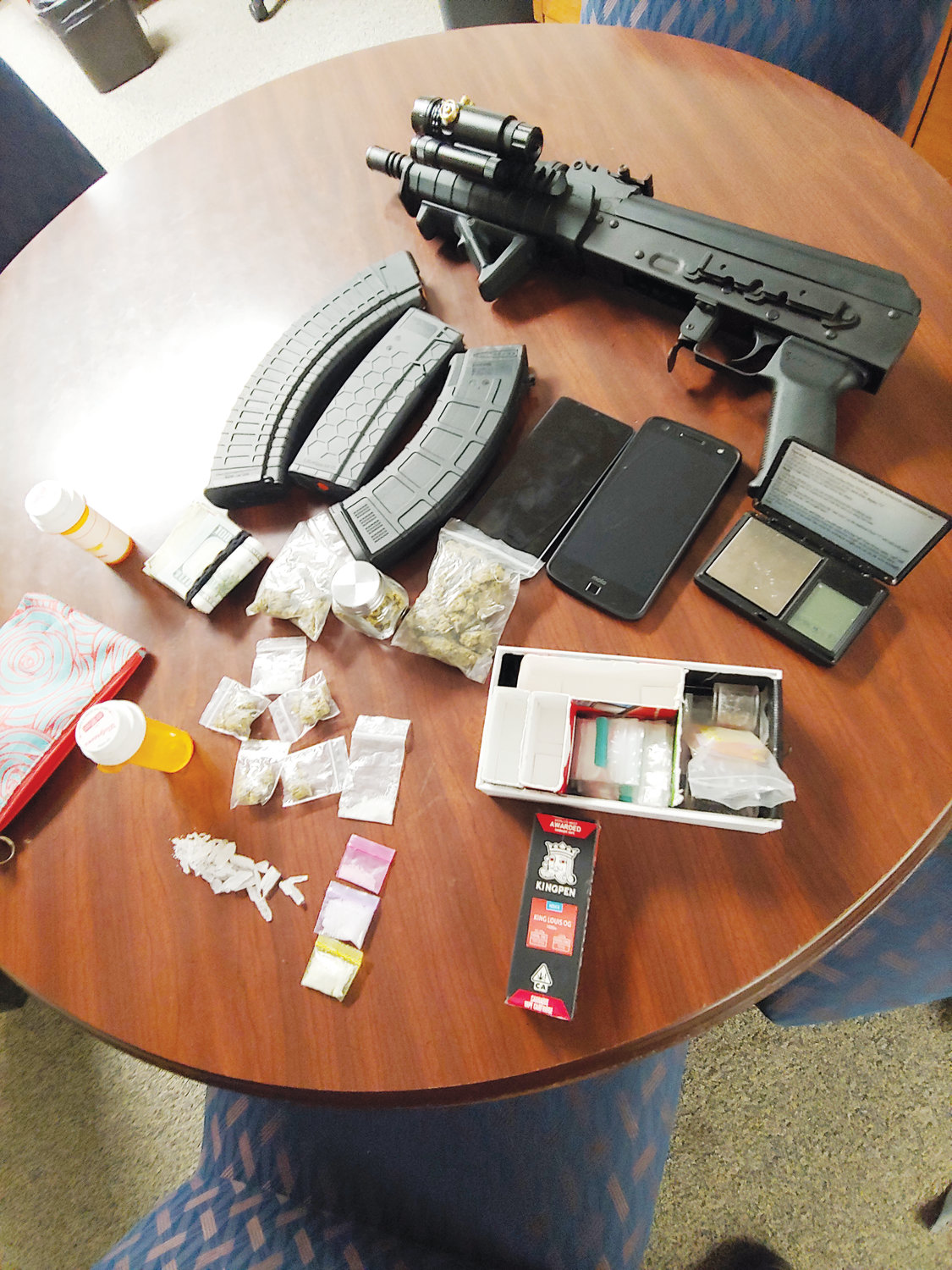 Officers with the Wayne County Sheriff's Office say they found drugs, an AK47 and clips of ammunition in a car during a traffic stop early Friday morning, May 31, 2019.