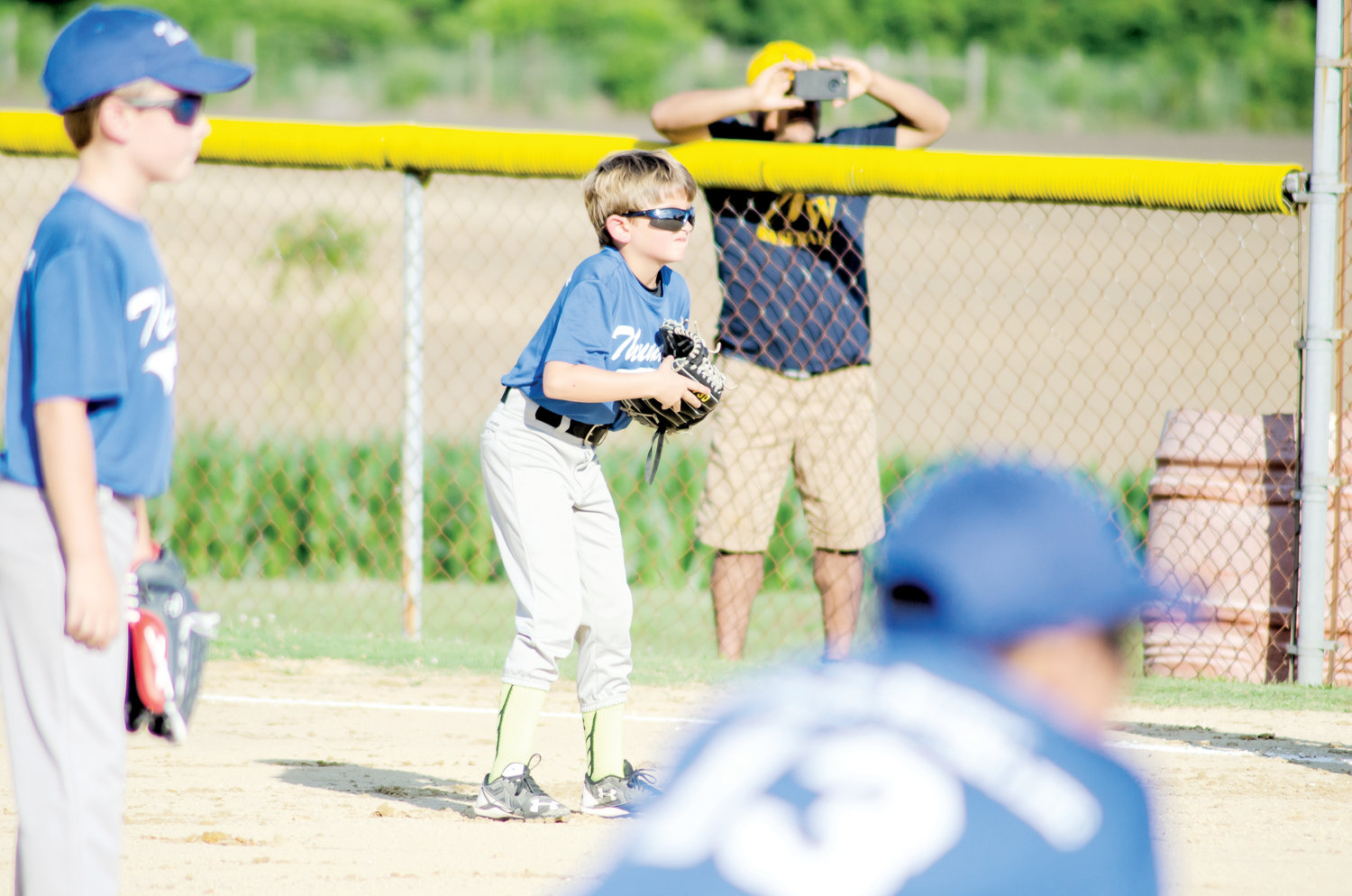 8U baseball teams shine at Daughtry Field.Holden Joyner gets ready on defense over at first base during the Mount Olive Thunder team's game against Eastern Wayne on Tuesday, June 11.
