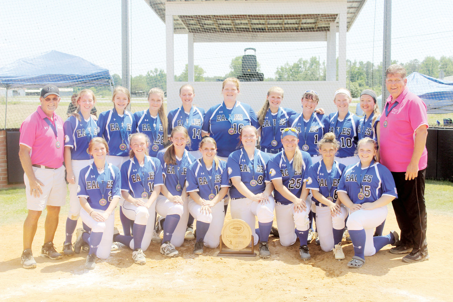 Cape Fear Christian Academy won this year's NCISAA 1A Softball Champion. Kneeling from left are Gabbi Chiodo, Anslee McLamb, Meghan Taylor, Jada Horne, Kristen Bass, Paige Jeffries, Harmony Horne and McKenzie Burris. Standing from left are coach Sterling Holmes, Claire Parker, Leah Brannon, Shelby Hodges, Rebekah Ennis, Aubree Bass, Averi Williams, Natalia Brocious, Rhyleigh Horne, Trinity Olive and assistant coach Craig Autry.