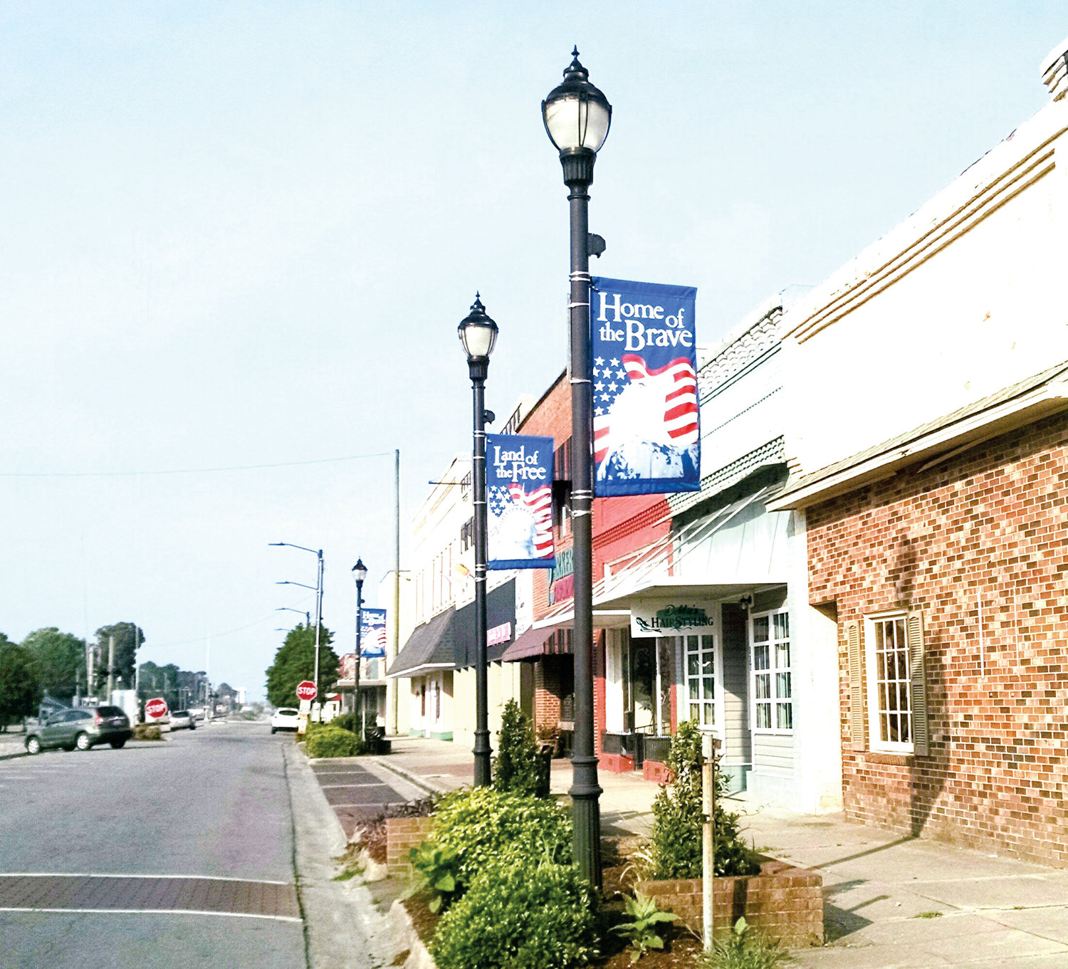 Seasonal patriotic banners line the 100 block of North Center Street in Mount Olive's downtown business district.