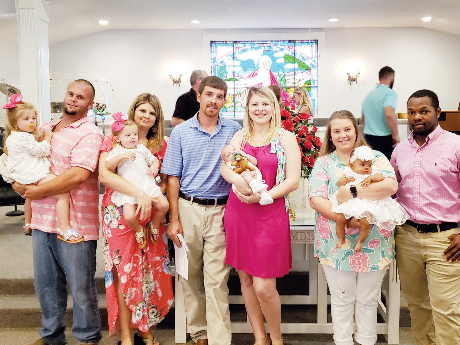Pictured from left are Brylee Trace and Brynlee Renee with their parents Johnathan and Brittany Barefoot; Colby Scott with parents Josh and Landon Miller; and Ryleigh Jade with parents Chris and Amber Price.