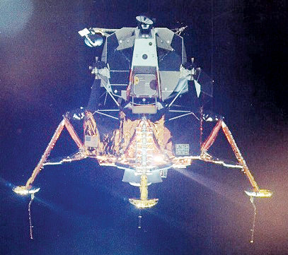 "The spider-like Lunar Excursion Module, nicknamed ""Eagle"" carried Astronauts Armstrong and Aldrin to the surface of the moon and returned them to the command module safely.  With its job completed successfully, it was jettisoned into orbit around the moon and later crashed into the surface."