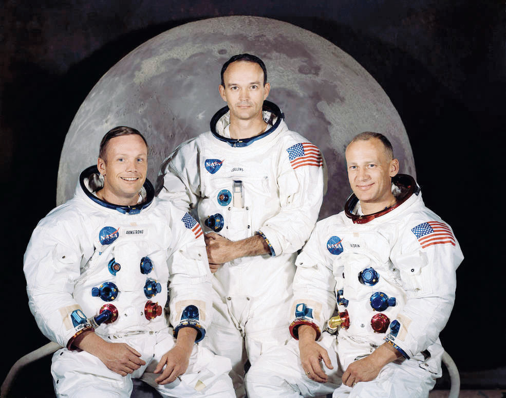 "The three men chosen to fly the Apollo 11 mission were (from left) Mission Commander Neil Armstrong, Command Module Pilot Michael Collins and Lunar Module Pilot Edwin ""Buzz"" Armstrong. They began their historic voyage on July 16, 1969 and Armstrong and Aldrin became the first moonwalkers on July 20."