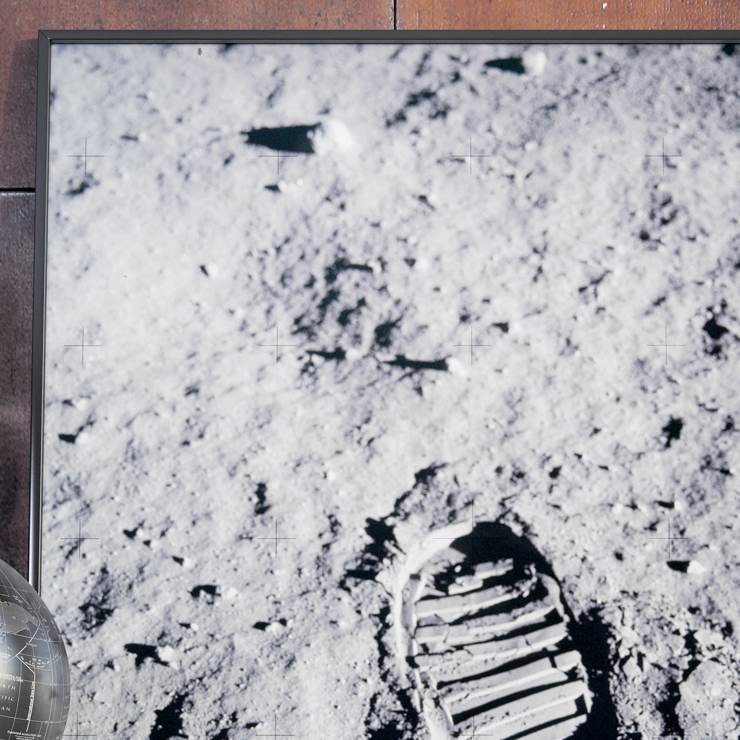 The footprint of American astronaut Neil Armstrong was the first to be carved into the moon. Here is a photo taken, by Armstrong himself, of the first step.