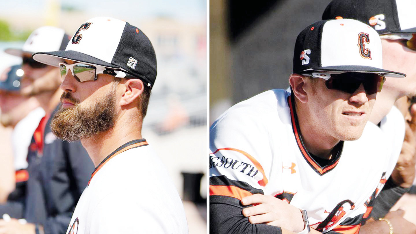 Assistant coaches Tyler Robinson, left, and Tyler Shewmaker, right, were both promoted this offseason. Robinson will become the lead pitching coach and Shewmaker will become a full-time assistant coach and recruiting coordinator.