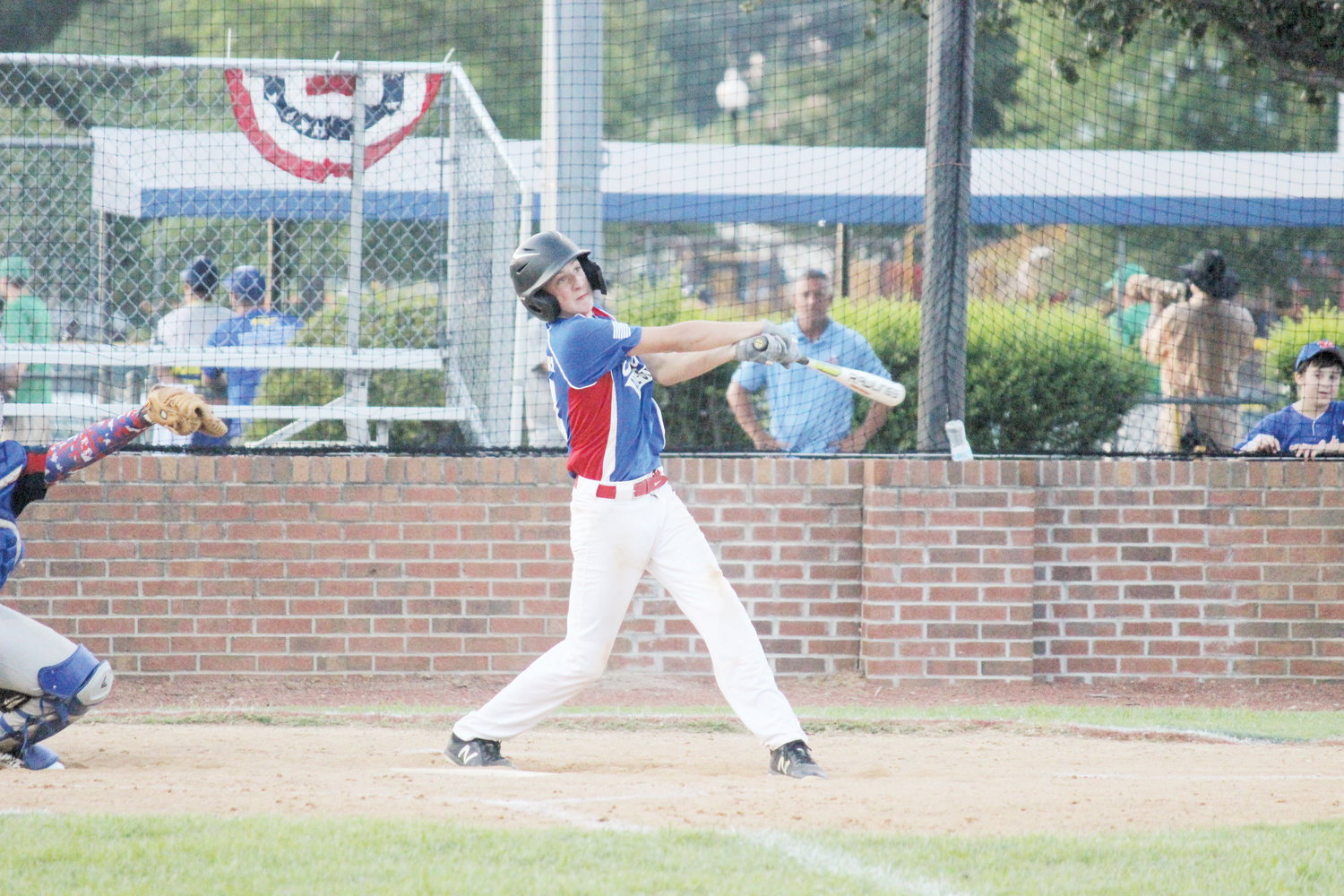 Carter Daughtry smacks a double in Erwin's 6-4 win over Louisburg in the Tar Heel Leagues 15-and-under Baseball State Tournament.