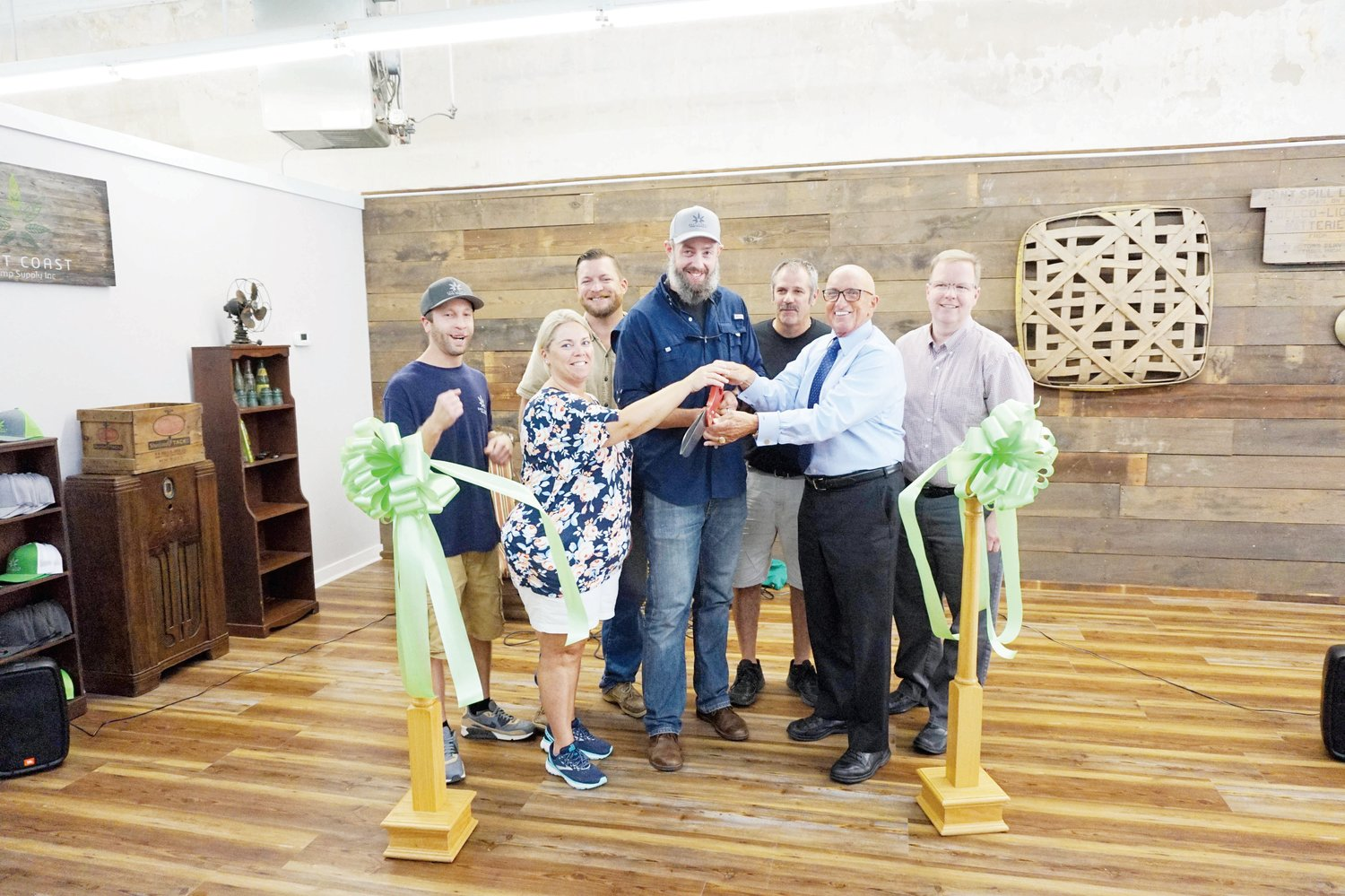 East Coast Hemp Supply cuts ribbon .The Dunn Area Chamber of Commerce held a ribbon-cutting ceremony for East Coast Hemp Supply Inc., located at 114 W. Broad St., Dunn. Pictured from left are Kevin Pope, ECHS production manager; Dunn Chamber President Renee Jackson; Curtis Godwin, ECHS production manager; Wesley Johnson, ECHS chief operating officer; Don Wood; Dunn Mayor Oscar Harris; and Dunn City Manager Steven Neuschafer.