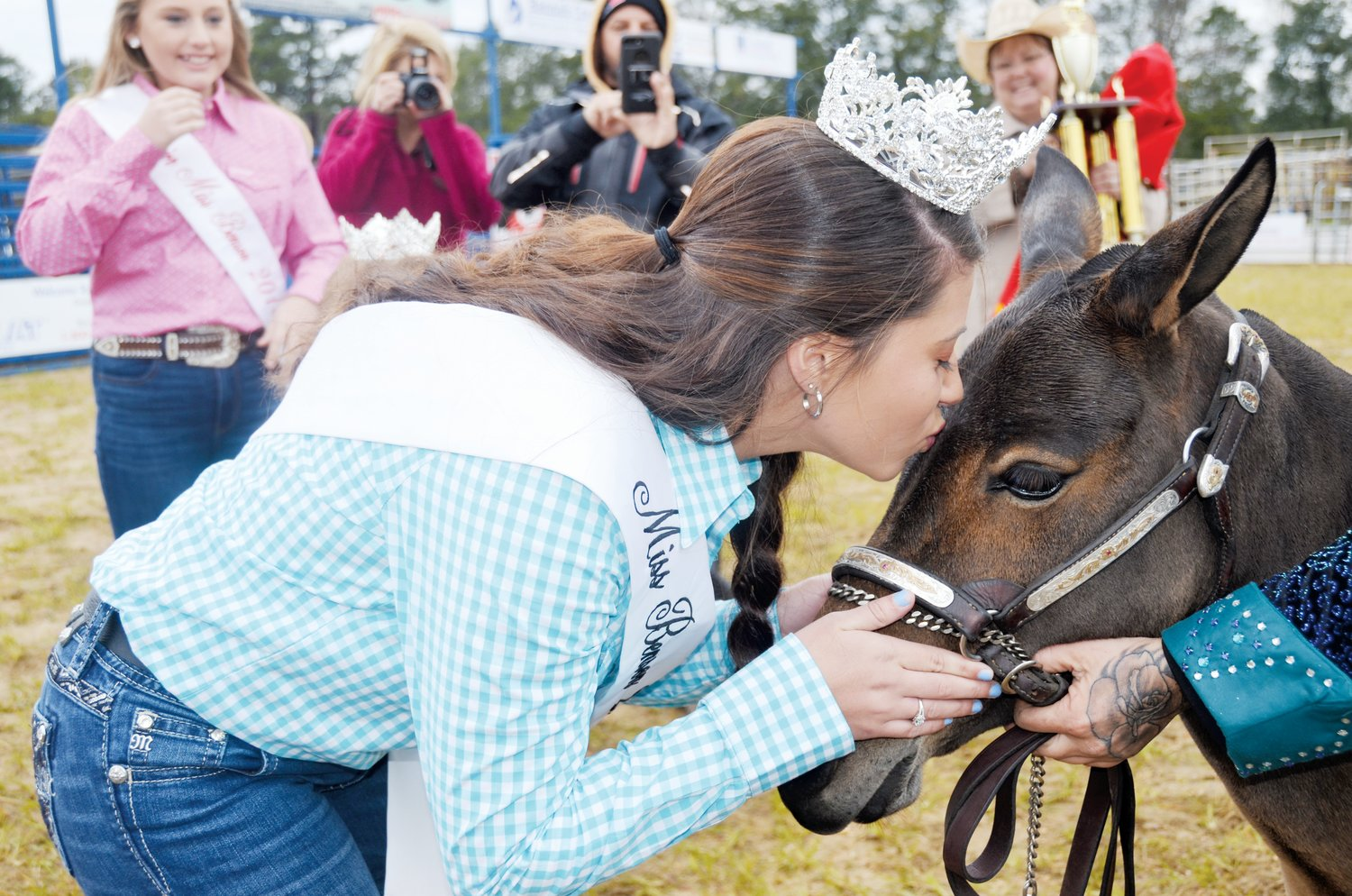 One of the many traditions of Benson Mule Days is kissing the winning grand champion mule by the reigning Miss Benson. Last year's winner, the first mini-mule to claim the top prize, Ellie - She's A Pistol, receives her kiss from Charli Rosenburg.