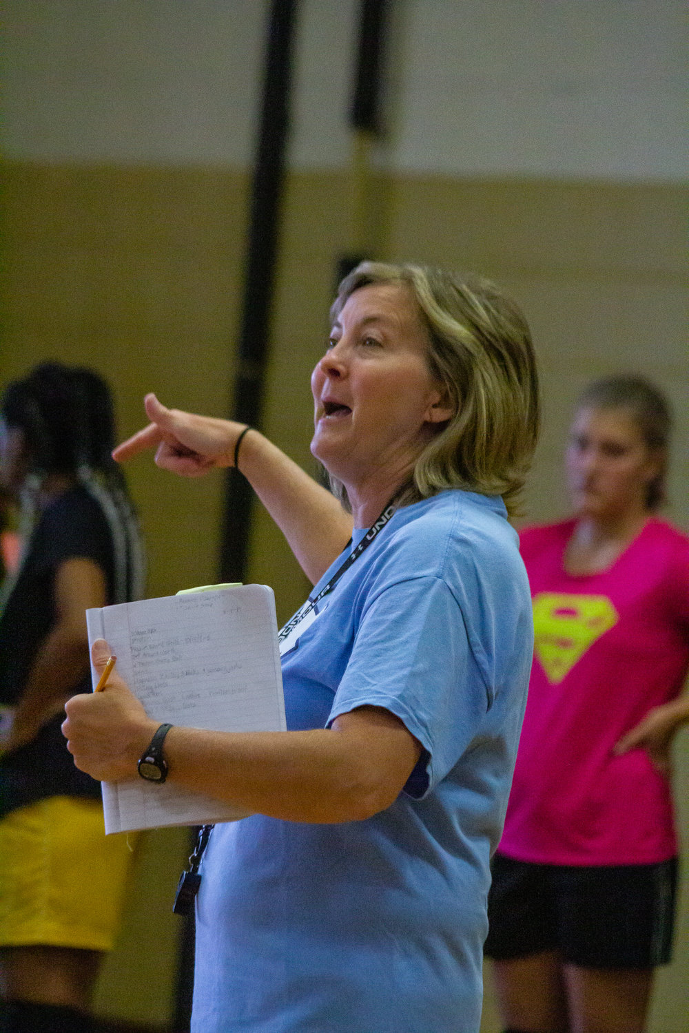 North Duplin Volleyball coach Laura Thornton directs her team during a recent practice.