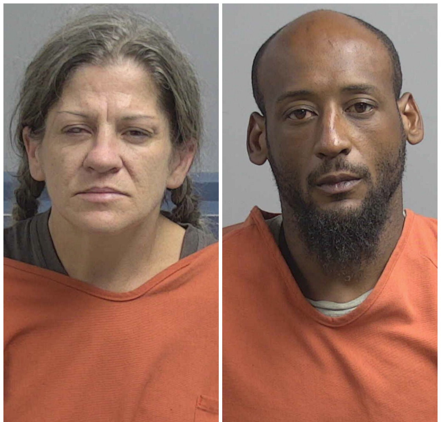 Thirty-nine-year-old Monica Lynn Hunt, left, and Corey Bernard Manuel, 36, both of 102 Antonio Drive, are facing multiple counts relating to weapons of mass death and destruction. The two were arrested Monday during a probe into bombs reportedly left at the Dudley Volunteer Fire Department on Sunday, Aug. 11, 2019.