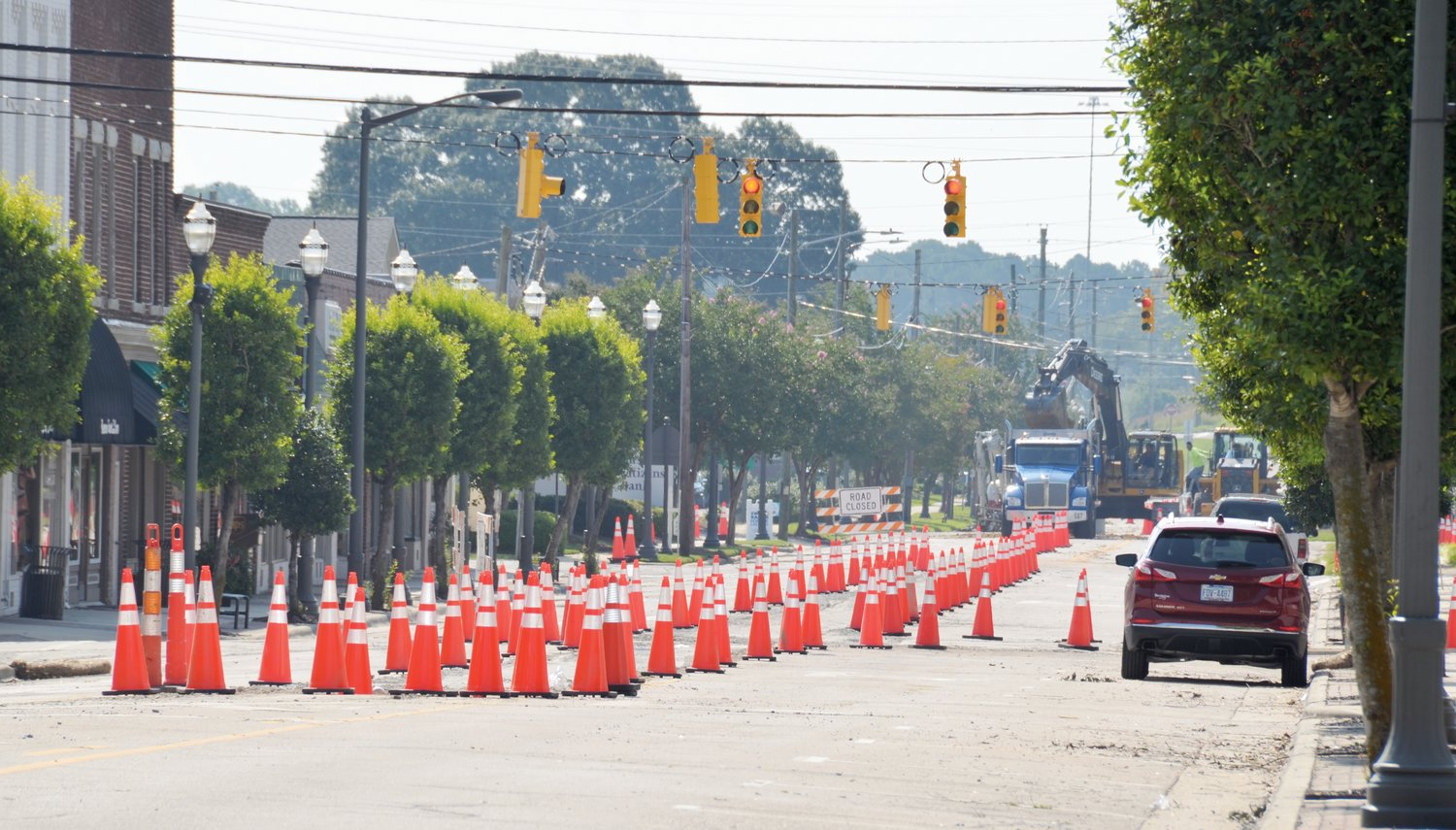The sewer replacement project in downtown Benson will be completed soon according to Mayor Jerry Medlin. Drivers will soon be able to travel the road currently occupied by construction cones, equipment and detour signs.