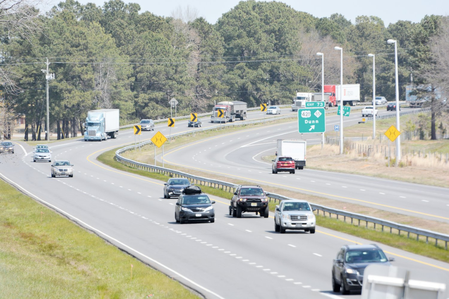 Interstate 95 — shown here facing north from Exit 72 at Pope Road — is proposed to be widened to eight lanes. The reason is the volume of traffic on Interstate 95.