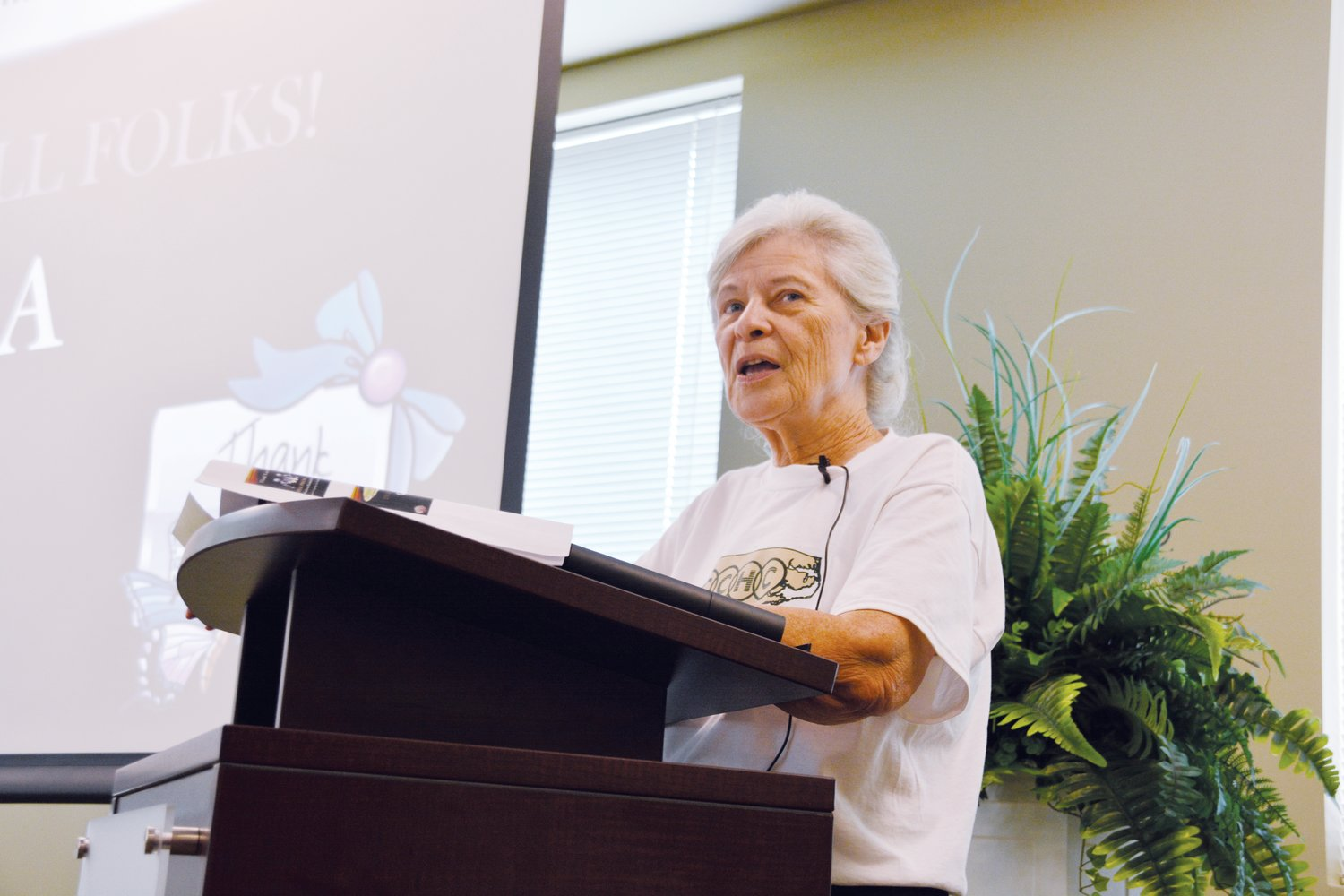 Patricia Bolton talks about her experiences as a patient at First Choice Community Health Center's 40th anniversary luncheon.