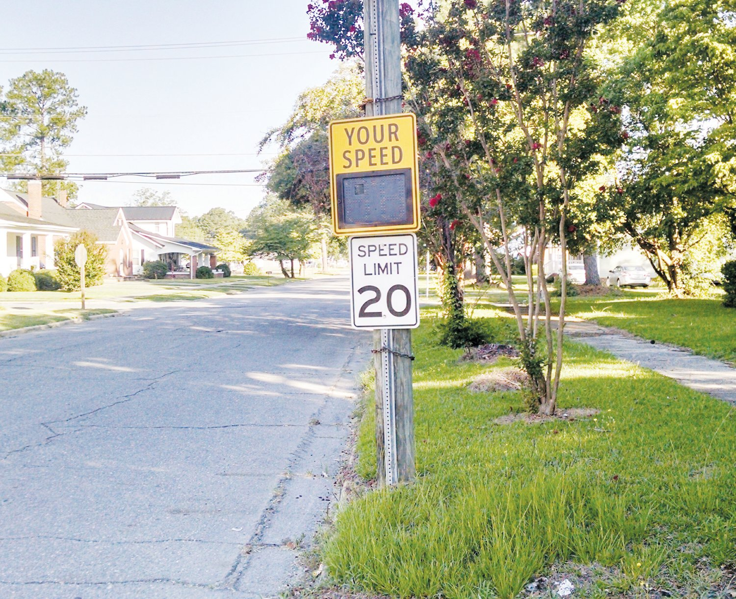 New speed limit signs on certain Mount Olive streets will soon be able to record the license plates of cars passing by. The drivers of cars caught speeding may soon receive citations. This 'Your Speed' sign was photographed on West Pollock Street. Mount Olive leaders have not disclosed where the camera signs will be placed.
