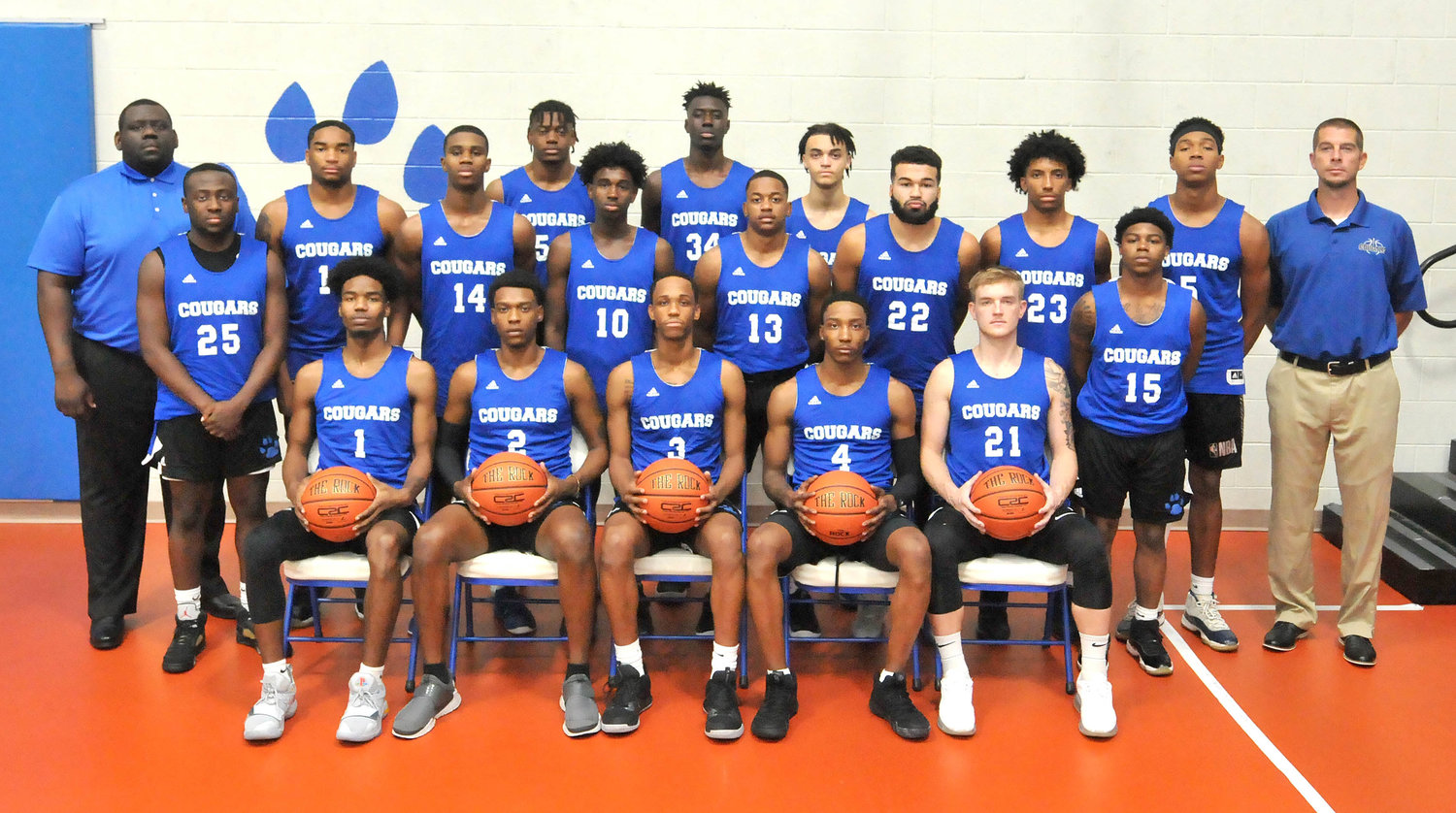 Central Carolina Community College's men's basketball team poses for a photo. The Cougars will tip off their season next Saturday, Nov. 2 at home against Vance Granville Community College.