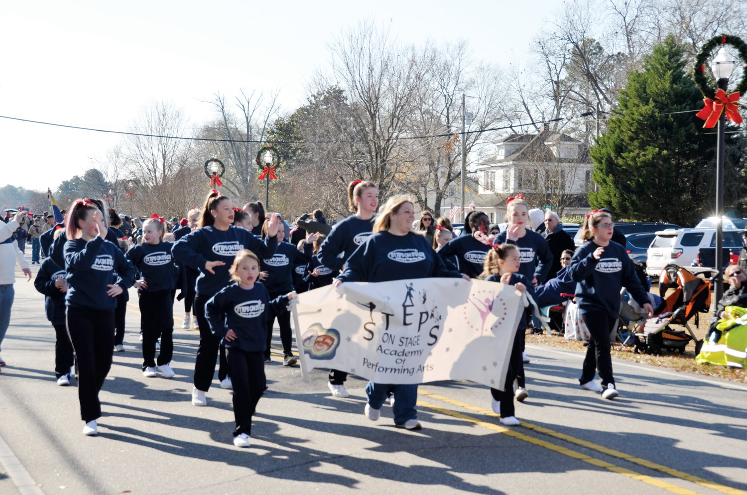 Students from the Steps on Stage Academy of Performing Arts, shown here, were among the groups who participated in this year's annual Christmas parade in Angier.
