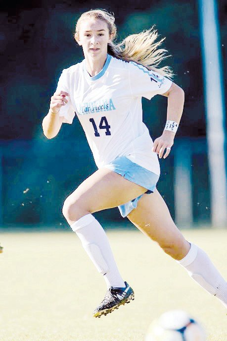 Morgan Goff tracks the ball in defense. Though North Carolina lost in Sunday's national championship game, Goff played well, helping the Tar Heels hold Stanford scoreless over 110 minutes. Goff's defensive efforts earned her a spot on the All-Tournament Team.