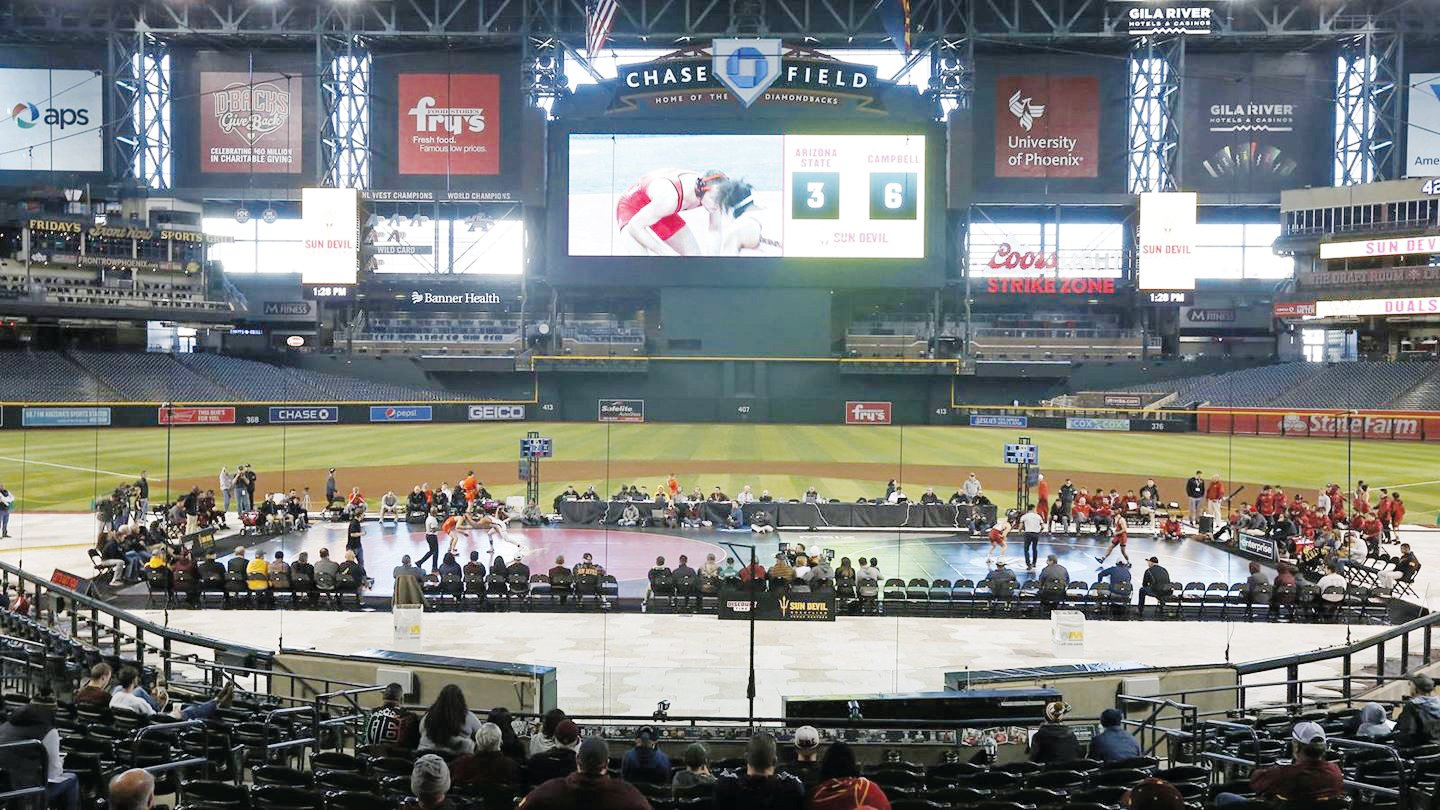 Wrestlers from Campbell, Arizona State, Iowa State and Harvard take part in the Duals on the Diamond, hosted at Chase Field, home of the Arizona Diamondbacks.