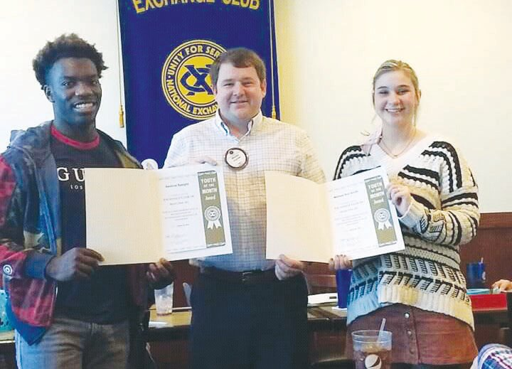 Exchange Club honors students of the month.Student of the Month honors presented by the Exchange Club of Mount Olive went to high school seniors Xavious Speight of North Duplin and Melissa Ann Smith of Southern Wayne. Club President Walt Joyner presented the awards.