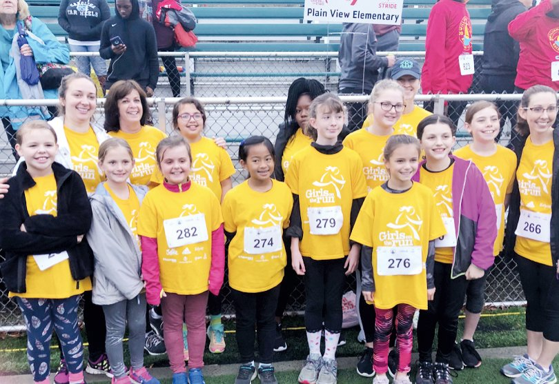 Plain View Elementary's Girls on the Run season ended with a celebration 5K in Wilmington. Thirteen girls, their running buddies, their coaches, Jennifer Davis, Erika Tyndall, Tiffany Babb, Donna McQueen and school principal, Melanie Smith, completed the 5K.
