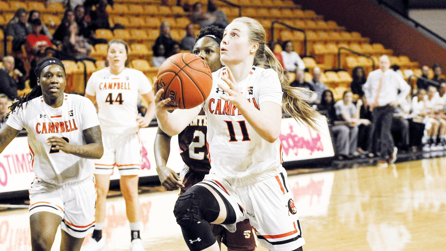 Campbell's Shy Tuelle drives to the basket in Tuesday's 63-47 win over Winthrop.