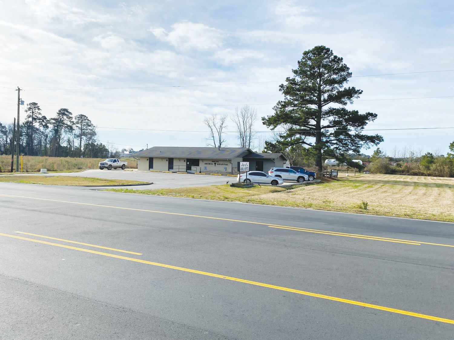 N.C. Highway 55 stretches before the Mount Olive Animal Hospital. The town of Mount Olive is asking the DOT to conduct a feasibility study on lowering the speed limit from 45 to 35 mph between the Mount Olive Animal Hospital, just east of Breazeale Avenue, and Walmart.