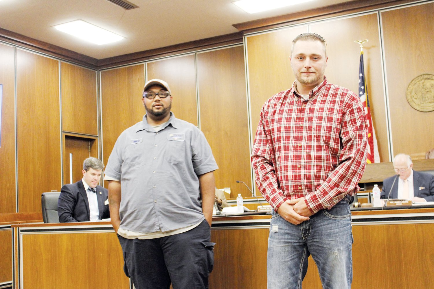 City welcomes new employees..Christopher R. O'Brien, right, and Michael A. McNeill were welcomed by Dunn City Council and others at the council's meeting Tuesday night. O'Brien and McNeill are new utility maintenance workers with the city.
