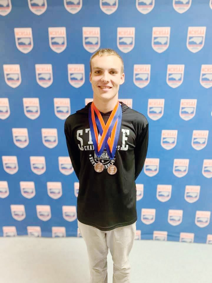 Josiah Beasley, a senior swimmer from Triton High School, claimed a pair of bronze medals at this year's state championships.