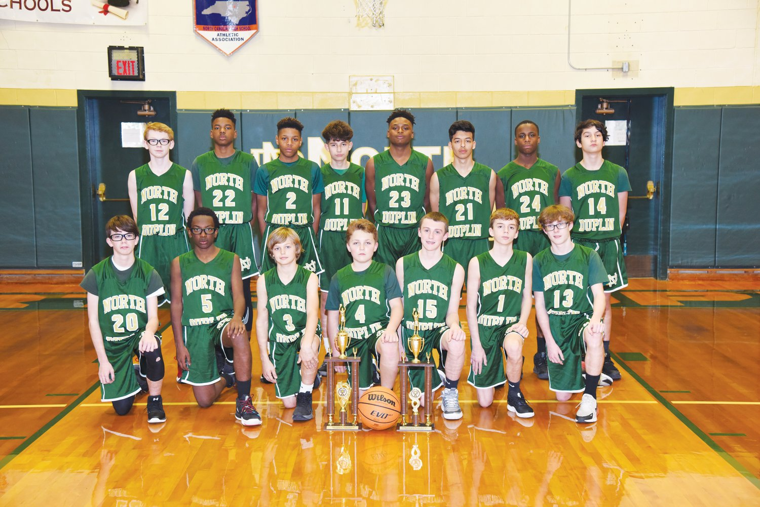 Rebels rule the hardwood.The North Duplin Middle School boys' basketball team emerged as the Duplin County Middle School regular-season and tournament champion for 2019-20. Members of the team, front row, left to right, are Joey Parrish, Anthony Kornegay, Branson Martin, Hunt Pate, Luke Kelly, Justin Lee and Brady Byrd. Back row, from left, are Mason Blust, Micha Lesesene, Donavan Armwood, Jacob Valasquez, Dujuan Arnwood, Branden Reyna, Rahmear Gates and James Ward.