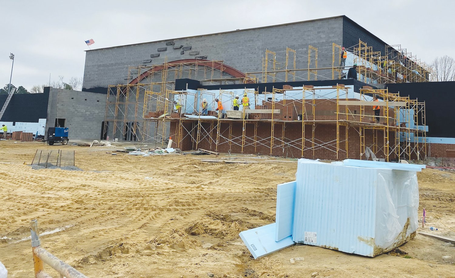 Work continues on new Southern Wayne gym..Despite the coronavirus pandemic, workers continue the construction on the new Southern Wayne High School gymnasium.