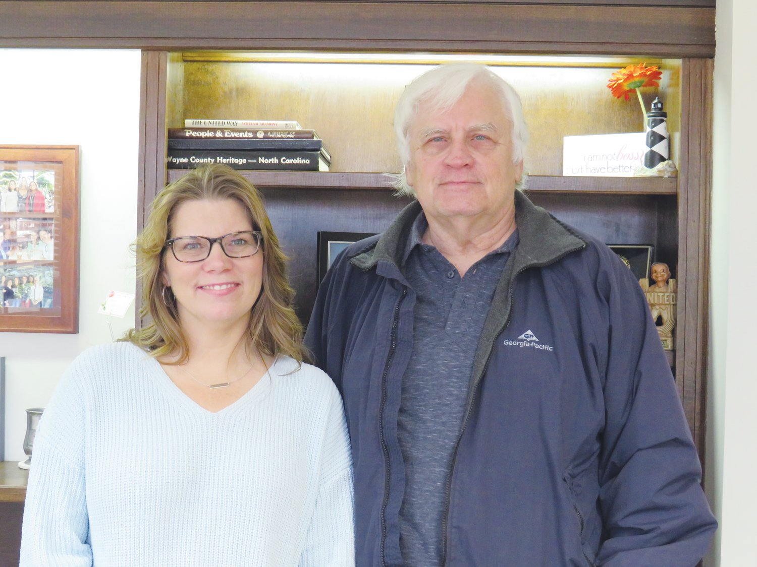 Pictured are Sherry Archibald and Ray Urban. A grant was awarded for Emergency Assistance provided by Society of St. Vincent de Paul to provide help for those facing emergency need related to food, utilities or rent payments. Society of St. Vincent de Paul is a completely volunteer run organization.