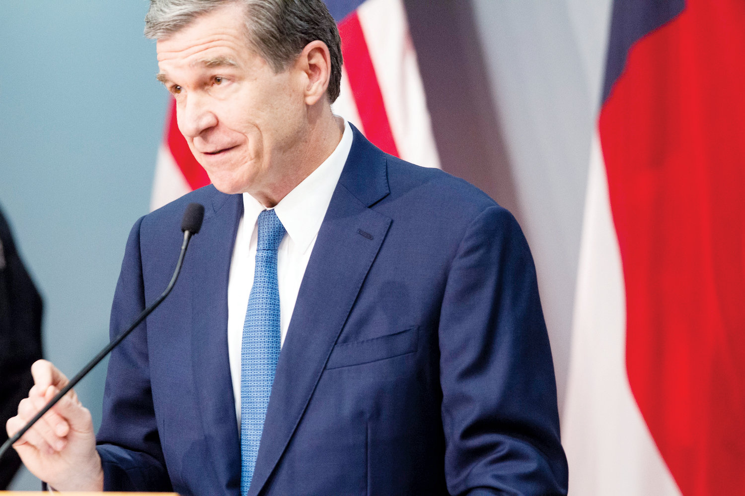 Gov. Roy Cooper delivers a briefing on North Carolina's coronavirus pandemic response Friday, April 3, 2020 at the NC Emergency Operations Center in Raleigh.