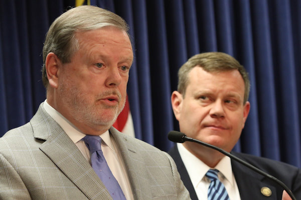 Senate leader Phil Berger, R-Rockingham, and House Speaker Tim Moore, R-Cleveland, at a May 2018 news conference.