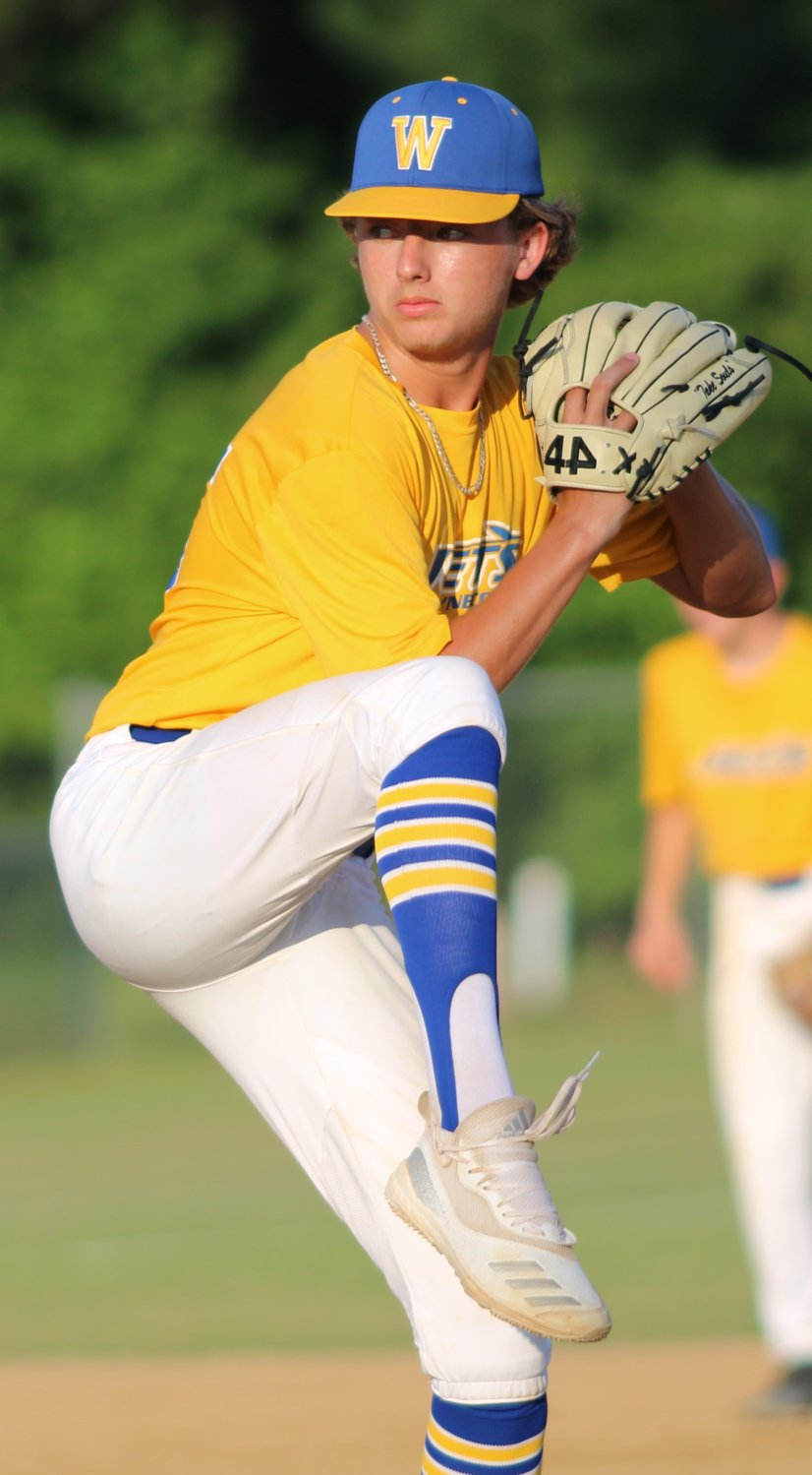 Wayne County Jets Blue left-hander Cohen Waddell threw a five-hitter in five-plus innings during a 9-3 victory over Kinston on Thursday evening.