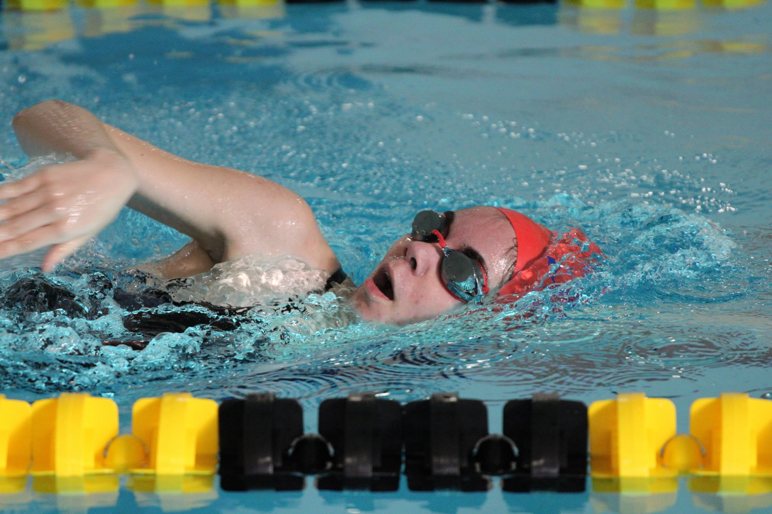 Southern Wayne's Brittanya Norris competes in the 500 free during a three-team swim meet contested at the Goldsboro Family Y.