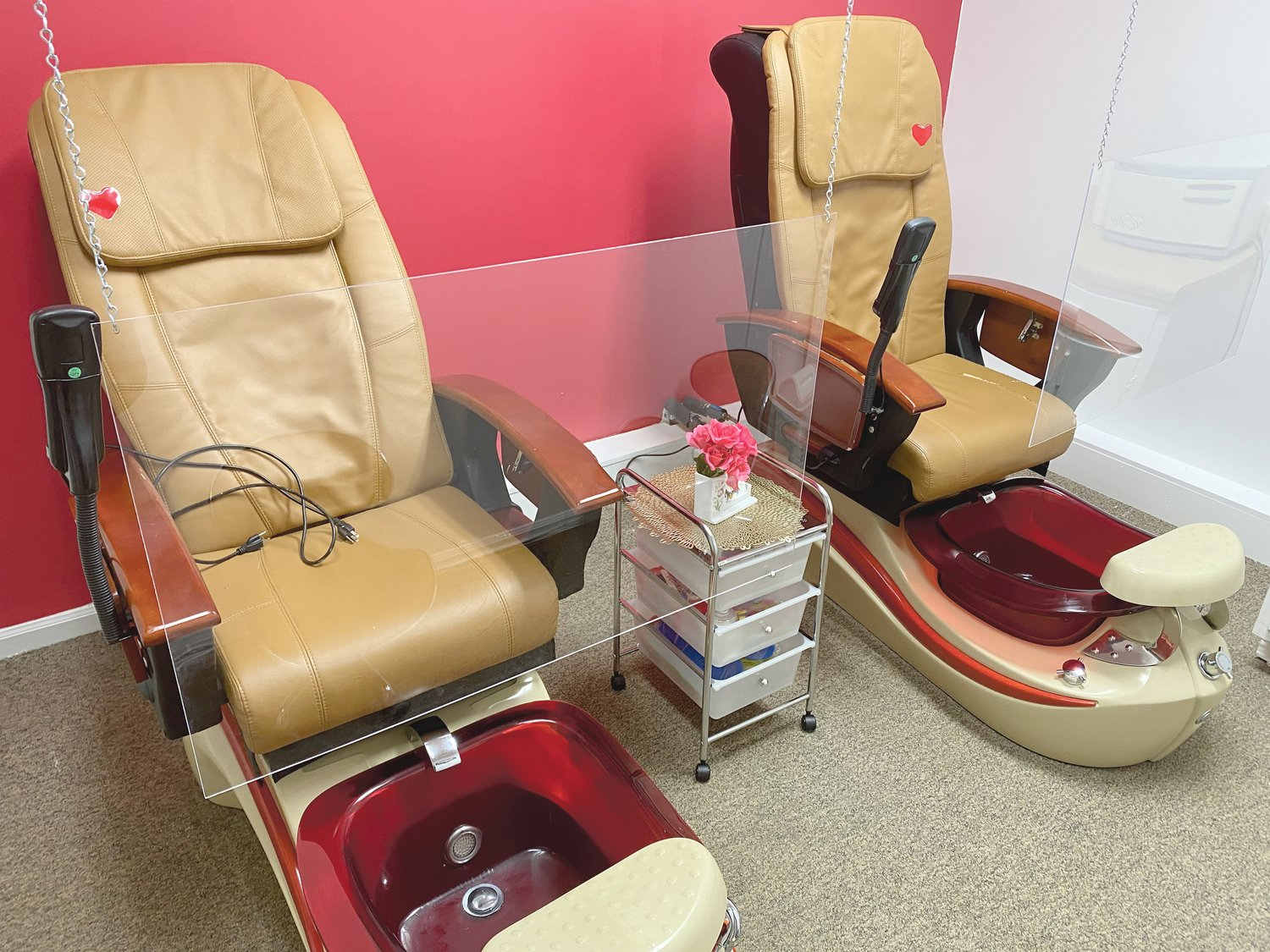 The pedicure room is ready for clients at Yosmy's Nail Salon.