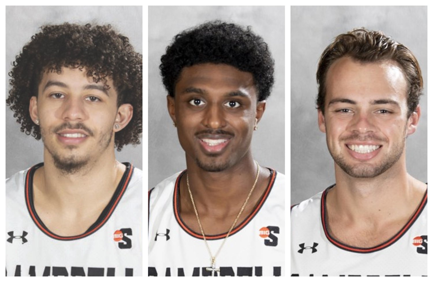 From left, Campbell men's basketball players Jordan Whitfield, Cedric Henderson, Jr. and Austin McCullough were named to Big South all-conference teams this week.