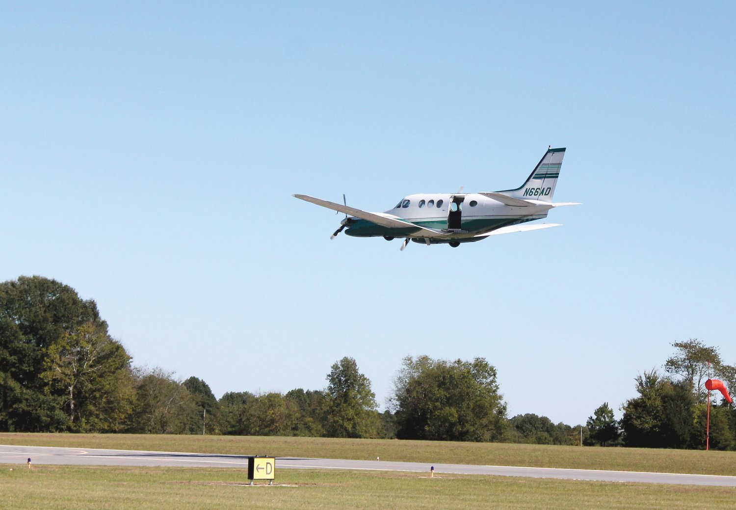 A plane takes off from the Harnett County Jetport during a WIngs Over Harnett aviation show in 2015.